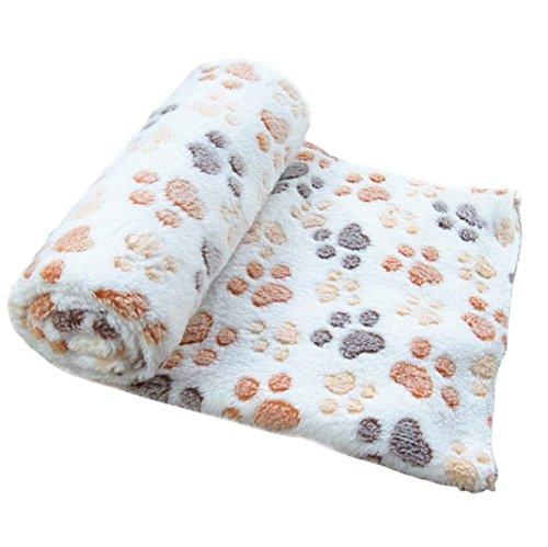 51YmvepSFEL - Pet Blanket ,Elevin(TM)Warm Pet Mat Pad Small Large Paw Print Cat Dog Puppy Fleece Soft Blanket