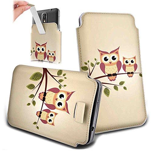Handytasche für Smartphones zwischen 143x73x7mm bis 151x79x10mm aus strapazierfähigen Kunstleder. Schöne Handyhülle mit bedruckten Designs / Motiven und Ausziehschlaufe. Farbe : Eulen auf Ast