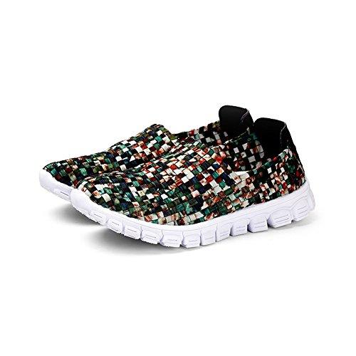 Womens Lichtgewicht Kleurrijke Geweven Schoenen Instapperige Drofe Loafers Casual Wandelschoenen Camo Groen