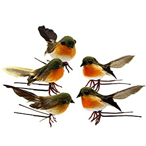 Yolococa Very Cute Artificial Feather Robin Bird Christmas Tree Decoration Craft 3