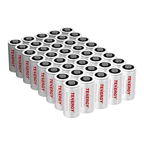 Tenergy Premium CR123A 3V Lithium Battery, [UL Certified] 1600mAh Photo Lithium Batteries, Security Cameras, Smart Sensors, Specialty Devices, 40 Pack, PTC - 123 Ul