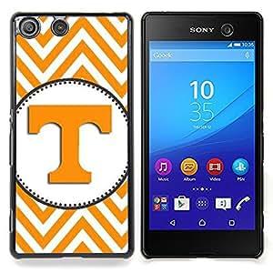 For Sony Xperia M5 E5603 E5606 E5653 Case , Letra inicial Chevron Amarillo Blanco - Diseño Patrón Teléfono Caso Cubierta Case Bumper Duro Protección Case Cover Funda