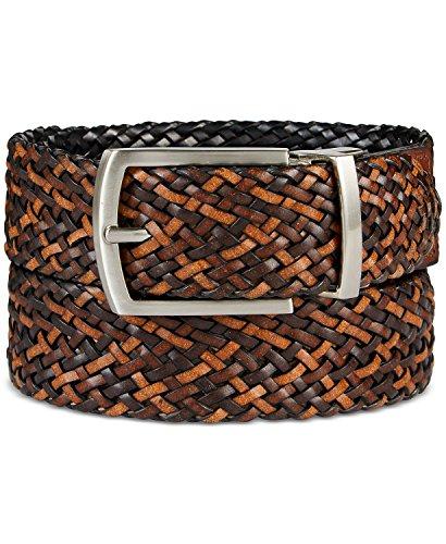 Tasso Elba Men's Leather Reversible Braid Dress Belt, Brown/Black (38/95) (Braid Leather Belt)