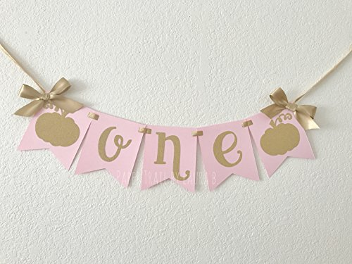 Little Pumpkin High Chair Banner with Cursive Font. 1st Birthday High Chair Banner. Pink and Gold Party Decorations. Gold Glitter Decor. FREE SHIPPING!