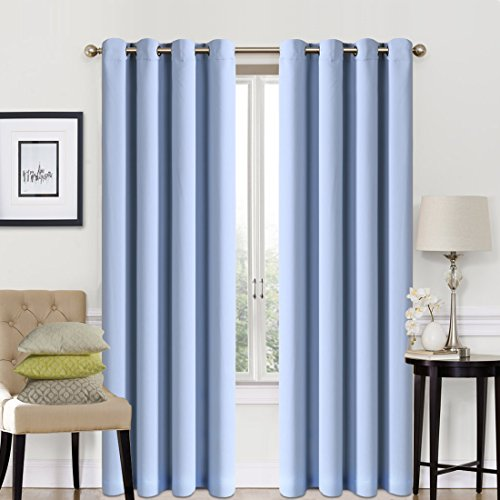 Blackout Window Curtain Panel Grommet Top Drapes 2 Panel Set Room Darkening Thermal Insulated Blackout Drapes for Bedroom (W52 x L84,Blue)