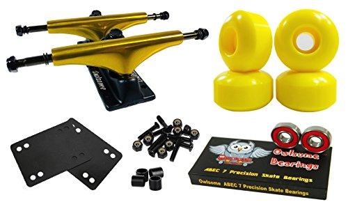 Owlsome 5.25 Metallic Gold/Black Aluminum Skateboard Trucks w/52mm Wheels Combo Set -