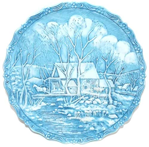 Vintage 1980 Winter in the Country Grist Mill #1 Signed Fenton Art Glass Plate