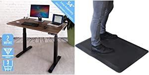 Seville Classics Airlift Pro S3 54%22 Solid-Top Commercial-Grade Electric Adjustable Standing Desk Table & Airlift 32%22 Standing Desk Comfort Mat-Office Home Kitchen Anti Fatigue Floor Pad, Black