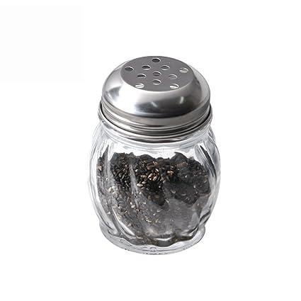 Botella de aderezo de Vidrio sin Plomo Tanque de aderezo para Especias de Grano Grande Cubierta