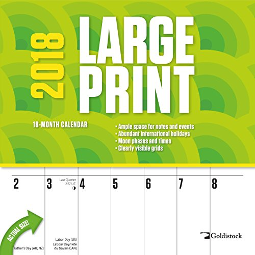 "Goldistock ""Large Print"" Eco-friendly 2018 Large Planner Wall Calendar- 12"" x 24"" (Open) - Thick & Sturdy Paper - Perfect for Organizing & Planning - Oversized Blocks"