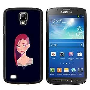 LECELL--Funda protectora / Cubierta / Piel For Samsung Galaxy S4 Active i9295 -- Redhead chica punky Negro Cartoon --