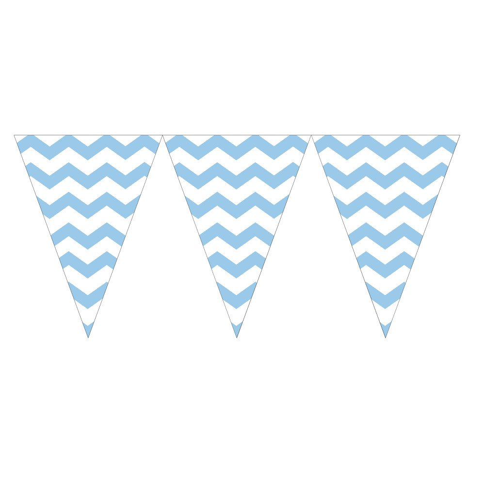 Creative Converting 293279 12 Count Chevron Flag Banner, Pastel Blue