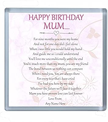 Personalizable Happy Birthday Mum Poema Bebidas Posavasos