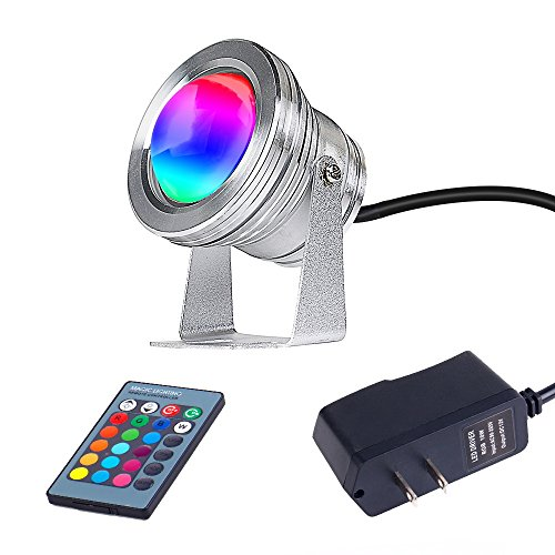 sanwo 10W 12V RGB LED outdoor spotlight- 900LM IP67 Waterproof Aquarium Light Remote Control 80.7-Inch Adapter Landscape Fish Tank Pond Swimming Fountain Garden (Silver) by sanwo