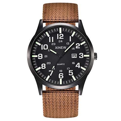 2019 Summer Deals ! Men Boy Round Dial Nylon Strap Band Military Date Quartz Wrist Watch Gift Wrist Watch for Men Under 10 ()