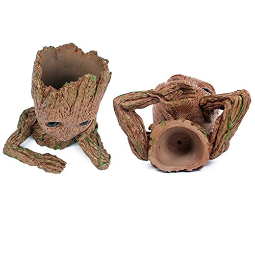B-Best Guardians of The Galaxy Groot Pen Pot Tree Man Pens Container Or Flowerpot with Drainage Hole Perfect for a Tiny Succulents Plants and Best Gift Idea 6'' by B-BEST (Image #3)'