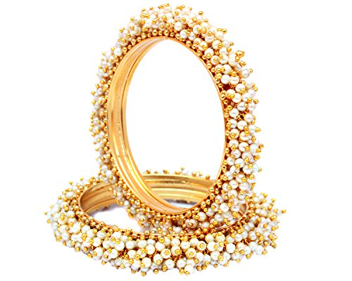 Indian Style Gold Plated Pearl Studded Bracelets Bangle Set Wedding Jewelry For Women (2.8)