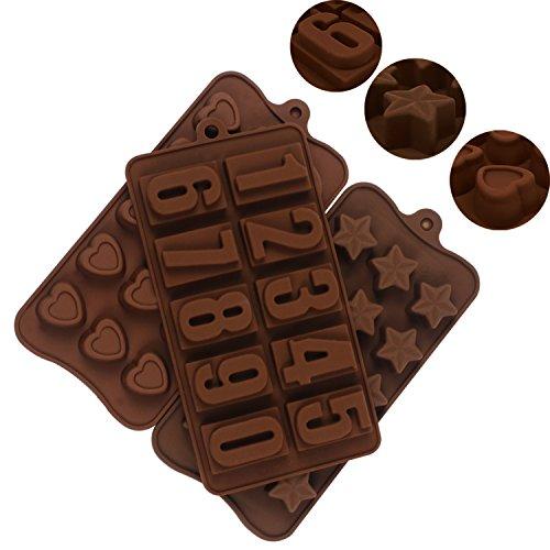 JPSOR 4 Moldes de Chocolate,Moldes de Letras y Numeros Para Chocolate, Moldes de Silicona Para Caramelos Dulce en Forma de Número, Letra, ...