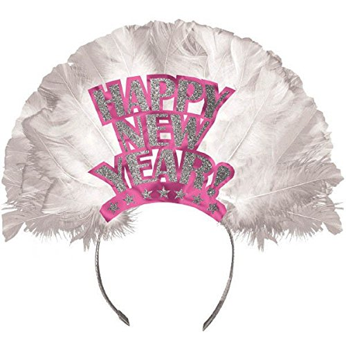 - Amscan Sparkling New Year Feather Tiara Party Accessory , Pink, Foil , 12