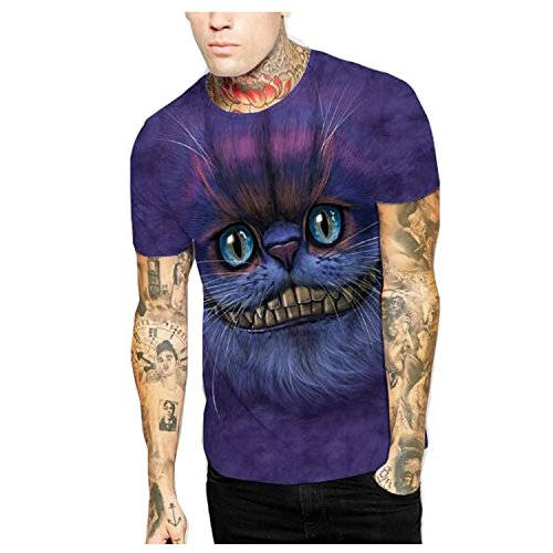 Elakaka Lovely Cat 3D Digital Printing Men 's T - (Cat Coustume)