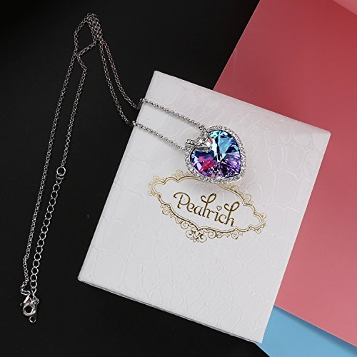 Pealrich Love Heart Fashion Pendant Necklace with SWAROVSKI Crystal,Great Gifts for Women (Multicolor)