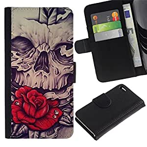 All Phone Most Case / Oferta Especial Cáscara Funda de cuero Monedero Cubierta de proteccion Caso / Wallet Case for Apple Iphone 4 / 4S // Rose Skull Red Vignette Sword Rock