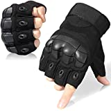 JIUSY Tactical Gloves Military Fingerless Hard Rubber Knuckle Half Finger for Army Gear Sports Driving Shooting Paintball Riding Motorcycle Hunting Gloves Size Large Black