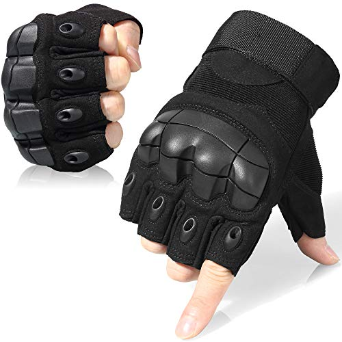 WTACTFUL Tactical Gloves Military Fingerless Hard Rubber Knuckle Half Finger for Army Gear Sports Driving Shooting Paintball Riding Motorcycle Hunting Gloves Size X-Large Black