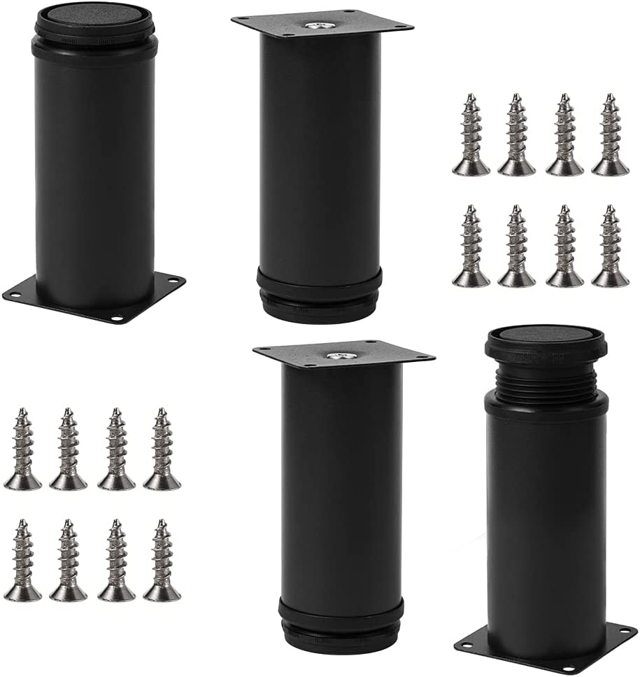 Adjustable Metal Table Legs Furniture Legs, Replacement Legs for Coffee Table, Desk, Sofa Couch,Set of 4(5Inch, Black)
