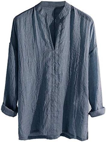 Aniywn Mens Loose Long Sleeve Plain V-Neck Tops Blouse Basic Comfort Lightweight Retro Tunic Shirt Blue / Aniywn Mens Loose Long Sleeve Plain V-Neck Tops Blouse Basic Comfort Lightweight Retro Tunic Shirt Blue