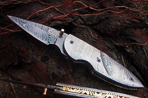 DKC Knives (6 7/18) SALE DKC-121 ZORKA Pocket Folding Damascus Steel Hunting Knife 7.5'' Long, 3'' Blade 4.5'' Folded 10oz Work of Art ! by DKC Knives (Image #1)