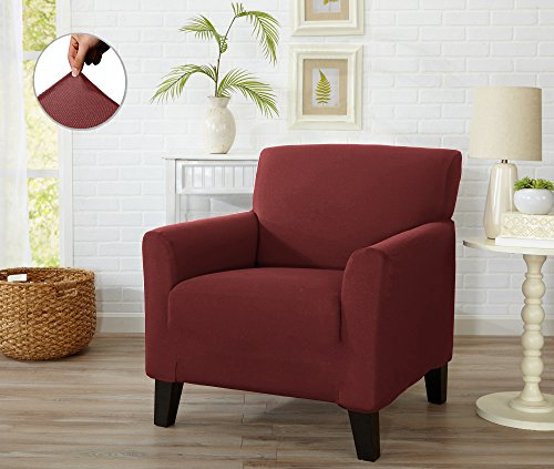 Form Fit Stretch, Stylish Furniture Cover / Protector Featuring Lightweight Twill Fabric. Dawson Collection Basic Strapless Slipcover. By Home Fashion Designs Brand. (Chair, Wine) from Home Fashion Designs