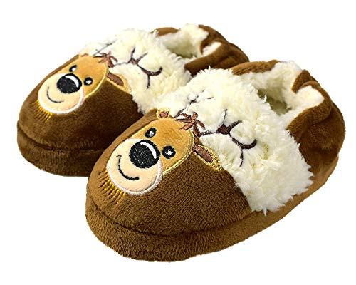 Girl's Rubber Sole Christmas Slippers Cozy Indoor Comfort Plush Shoes for Toddler 6-7 US -