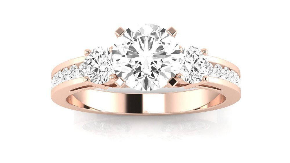 14K Rose Gold 1.8 CTW Round Cut Channel Set 3 Three Stone Diamond Engagement Ring, J Color I1 Clarity 1.2 Ct Center