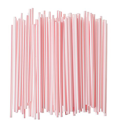 Crystalware Plastic Small Straws, Stirrers, Milk Straws, Red and White Straws, Individually Wrapped, Foodsafe PP Plastic, Small Diameter, 5 3/4 Inches Long, 500/box