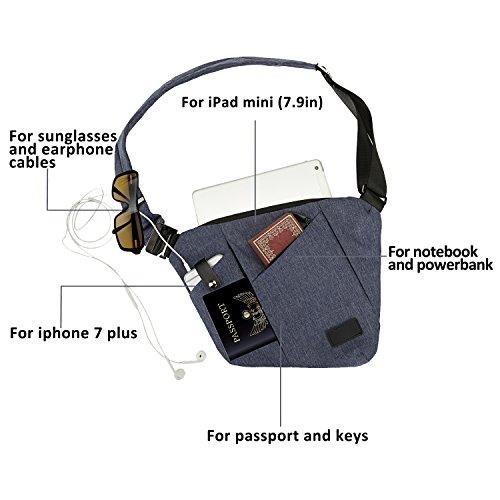 SPANLA Sling Bag, Shoulder Crossbody Chest Bag Slim Backpack Waterproof Multipurpose Daypacks Lightweight Hiking Daypack for Men & Women (Blue)