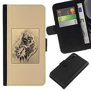KLONGSHOP // Tirón de la caja Cartera de cuero con ranuras para tarjetas - cráneo tiempo la muerte rock metal arte negro - Sony Xperia Z3 D6603 //
