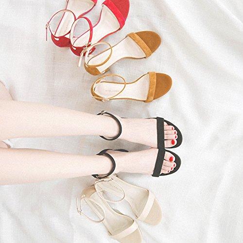 5 Femenina Vivioo Alto Y 5cm Sandalias Salvajes Finos Tacón Zapatos Nude De Con Negros Verano wOOHXpBx
