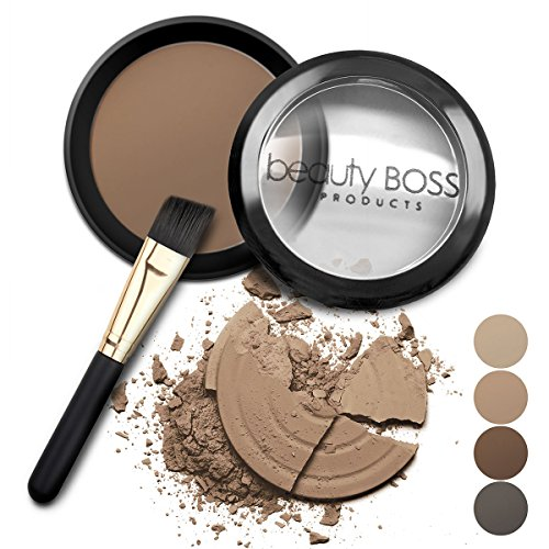 Eyebrow Powder Medium Brown - Natural Fill-in Eyebrow Makeup - Brow Power Water Resistant Includes Small Brush (Best Cheap Eyebrow Powder)
