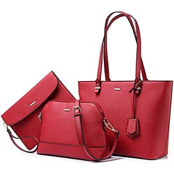 Handbags for Women Shoulder Bags Tote Satchel Hobo 3pcs Purse Set Red