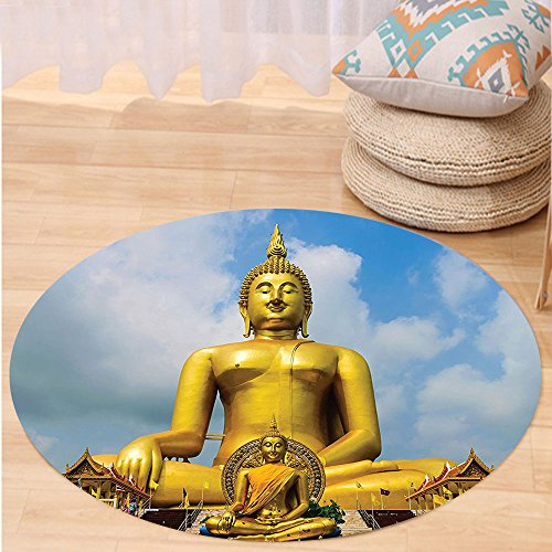 VROSELV Custom carpet Hanging Asian Decor The Biggest Golden Statue at the Temple in Thai Oriental Sage Asian Style Home Decor Bedroom Living Room Dorm Art Blue Gold Round 79 inches by VROSELV