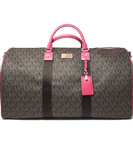 Michael Kors Jet Set Travel Logo Duffel Bag (Brown/Ultra Pink) by Michael Kors