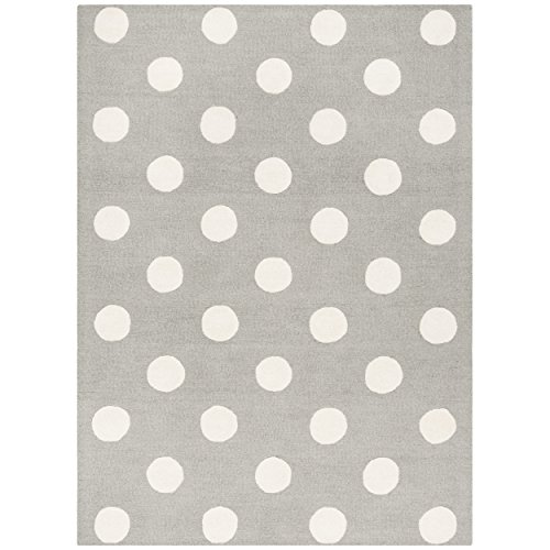 (Safavieh Kids Collection SFK904C Handmade Grey and Ivory Polka Dot Wool Area Rug (5' x)