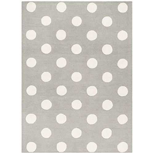 - Safavieh Kids Collection SFK904C Handmade Grey and Ivory Polka Dot Wool Area Rug (5' x 7')