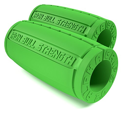 Iron Bull Strength Alpha Grips 2.0 - Extreme Arm Blaster - Best Dumbbell and Barbell Thick Bar Adapter (Green)
