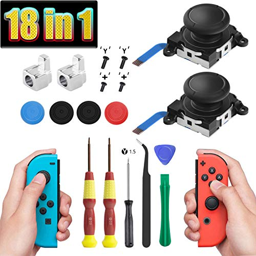 2 Pack Joy Con Joystick Replacement 3D Analog Joysticks for Nintendo Switch and Switch lite Joycon Controller and Thumb Stick Repair Kits, Screwdriver Fix Tools Kit