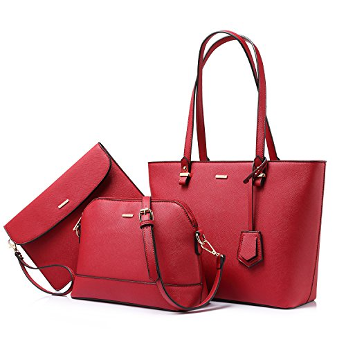 Handbags for Women Shoulder Bags Tote Satchel Hobo 3pcs Purse Set Red