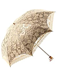 Honeystore Lace Travel Parasol Twice Folding Anti-uv Sunshade Windproof Umbrella Yellow
