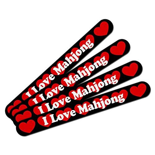 Love Mahjong (Double-Sided Nail File Emery Board Set 4 Pack I Love Heart Sports Hobbies I-M - Mahjong)