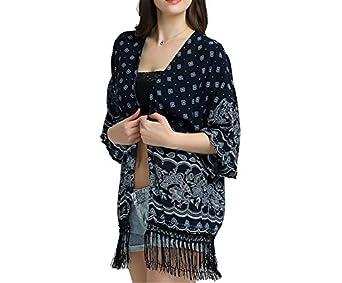 Eloise Isabel Fashion Mulheres Tops E Blusas de verão Praia Desgaste Da Marinha Do Vintage Kimono Cardigan Tribal Impressão Frente Aberta Boho Borla ...